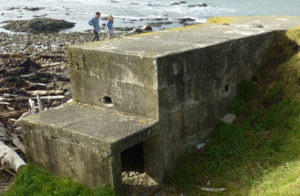 Pillbox at Pukerua Bay showing the entrance door for the arrow head design Photo: Mary Beckett