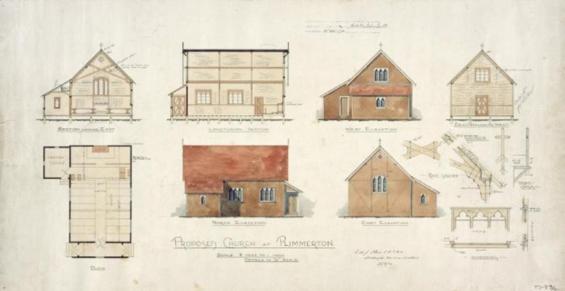 Plan of proposed church at Plimmerton 20.8.16 Alexander Turnbull Library Reference: Plans-80-0834