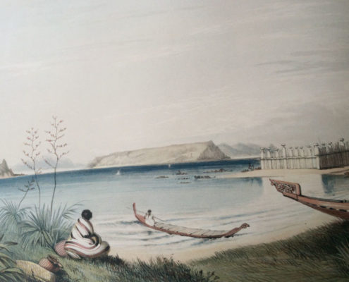 Rangihaeata's Pah, George French Angas, 1843 Alexander Turnbull Library, National Library of New Zealand