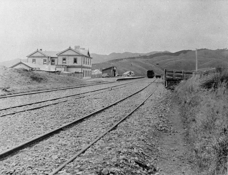 Plimmerton Railway Station- the small building with sloped roof taken around 1895 from where the current station stands today Photo courtesy Pataka Art + Museum, Porirua Ref.C.3.2