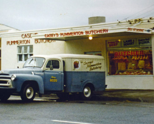 casey-butchery-with-bedford-van-1974