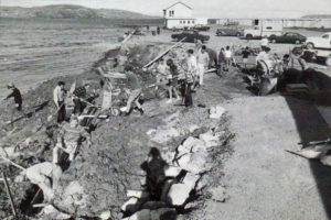 Club working bee building the retaining wall 1973 Photo courtesy Plimmerton Boating Club 75th Jubilee
