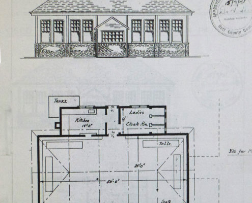 Plan for closing the front of the pavilion in 1951-52 Courtesy: Bernie Comerford collection