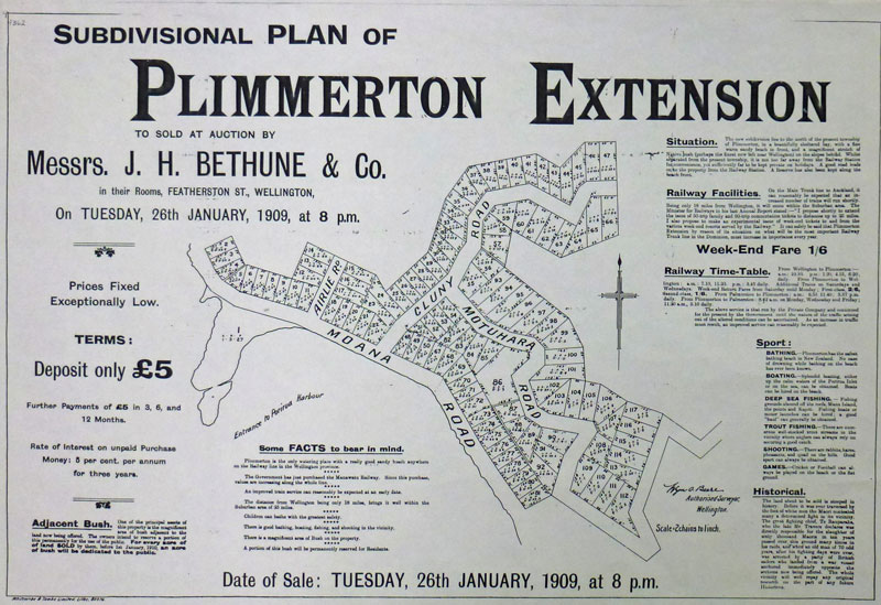 Poster for the sale of sections in Troup's first subdivision 1909 Plan courtesy Bernie Comerford collection