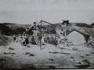 Swing on Karehana Beach after WWI Photo courtesy Alistair Robb Collection, Pataka Art + Museum, Porirua