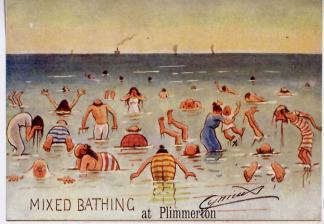 postcard- mixed bathing at Plimmerton