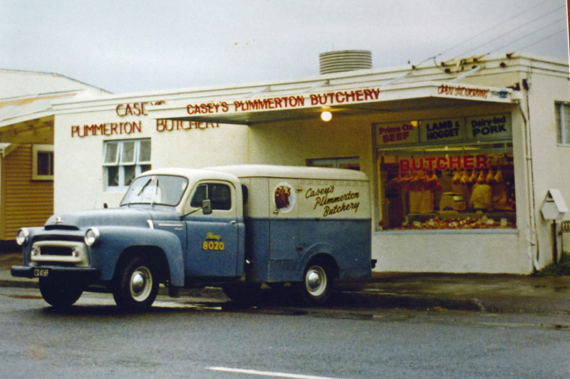 Casey's Plimmerton Butchery: Bedford van being loaded for the 5am delivery 'round', December 1974 Photo courtesy: Mary Casey's collection