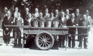 Plimmerton Fire Brigade with hand cart 1942 Photo courtesy Images of Plimmerton, 1999 Calendar
