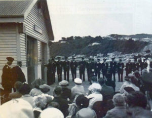 Opening of the Fire Station by B H Heath, Chairman, Hutt County Council 19 November 1955 Photo courtesy R Millar & R Postlewaight, Sand, Sea and Sirens – 75 Years of Firefighting in Plimmerton 1934-2009