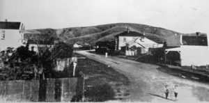 Looking down Steyne Avenue and over the railway line to James Walker's shed used by the first public school from 1904-12 Photo courtesy Pataka Art + Museum, Porirua