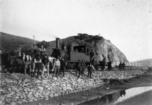 Ballast train at Camborne Hill c1900 Alexander Turnbull Library, Wellington, ref: 1/2-020092-F