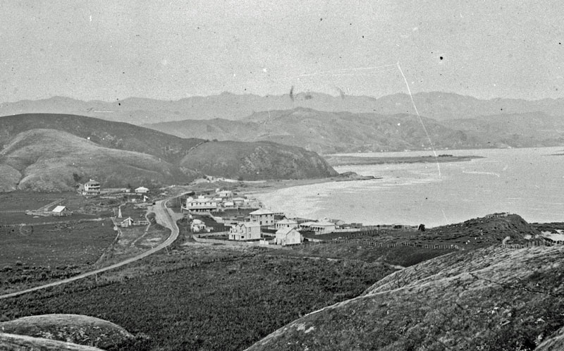 The line of the tramway runs from the left side of the station around the hill above the swamp to the tunnel. Circa 1904 Photo courtesy: Porirua Art + Museum, Porirua( C.4.32)