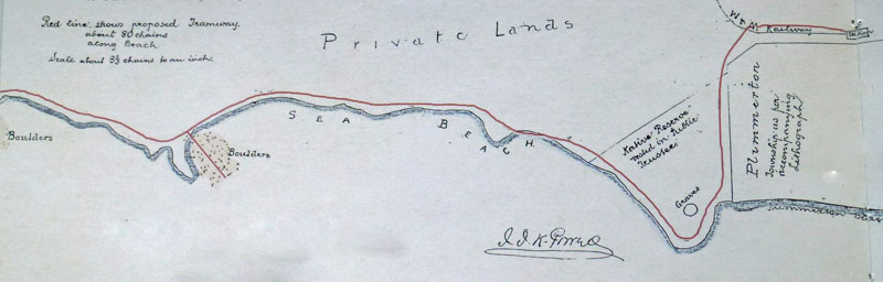 Powell's map of the proposed tramway route c1897 Archives NZ microfilm, ref: MD2173