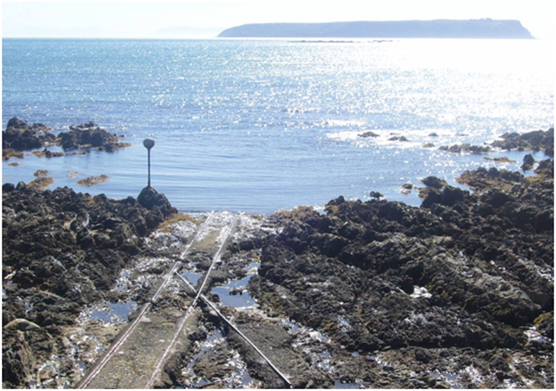 Navigation Ball and tracks at low tide.  Photo courtesy  Plimmerton Camborne Community Group