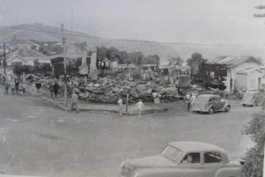 The same corner after the fire in February 1954 Photo courtesy: Evening Post 11 February 1954